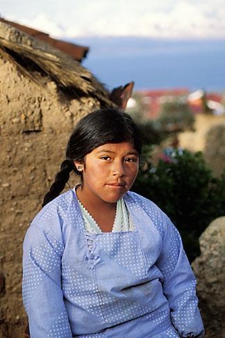 image 3-102-13 Bolivia, Lake Titicaca, Aymara girl, Yumani, Isla del Sol