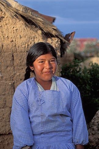 image 3-102-6 Bolivia, Lake Titicaca, Aymara girl, Yumani, Isla del Sol