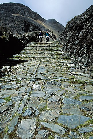 image 3-118-33 Bolivia, Andes, Hikers on Inca Trail to Taquesi