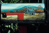 painted landscape scene stock photography | Detail, Painted mailbox with cabin and mountain scene, image id 0-0-86