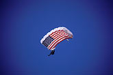 american flag and sky stock photography | Flag, US flag parachute jumper, image id 1-390-28