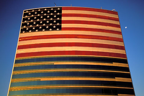 1-775-1  stock photo of Flags, American Flag on office building