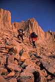 sunlight stock photography | California, Mt Whitney, Climbers at dawn, image id 2-112-20
