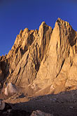 sunlight stock photography | California, Mt Whitney, Keeler Needle and Day Needle at dawn, image id 2-114-35