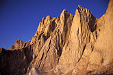 early morning stock photography | California, Mt Whitney, Keeler Needle and Day Needle at dawn, image id 2-114-37