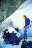 nevada stock photography | California, Sierra Nevada, John Hart in ice-climbing rescue, Dana Couloir, image id 2-148-1