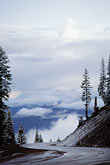 elevated view stock photography | California, Mt Shasta, The road to Bunny Flat at 6800