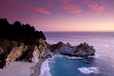 pink sky stock photography | California, Big Sur, Julia Pfeiffer Burns State Park, waterfall, image id 2-645-2
