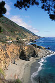 pacific ocean coastline stock photography | California, Big Sur, Pacific Coast Highway and beach, image id 2-646-43