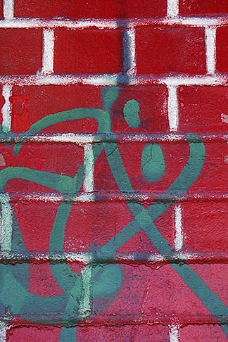 image 3-1015-21 Patterns, Red brick wall with graffiti
