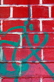 vandalized stock photography | Patterns, Red brick wall with graffiti, image id 3-1015-21