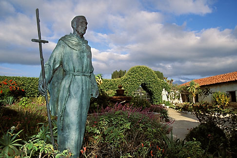 image 3-314-34 California, Carmel, Statue of Junipero Serra outside Carmel Mission
