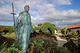 carmel mission church stock photography | California, Carmel, Statue of Junipero Serra outside Carmel Mission, image id 3-314-34