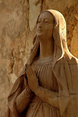 image 3-315-21 California, Carmel, Statue of Mary outside Carmel Mission Church