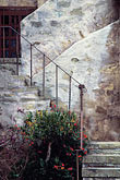 whitewashed wall stock photography | California, Carmel, Staircase, Carmel Mission Church, image id 3-316-9