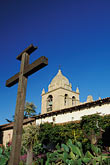 vertical stock photography | California, Carmel, Carmel Mission Church and cross from courtyard, image id 3-318-30
