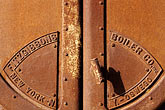 decorated door stock photography | California, Benicia, Iron furnace door , image id 4-222-8