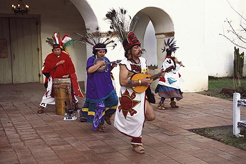 image 4-533-20 California, Missions, Indian dancers, Mission San Juan Bautista