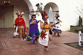 horizontal stock photography | California, Missions, Indian dancers, Mission San Juan Bautista, image id 4-533-20