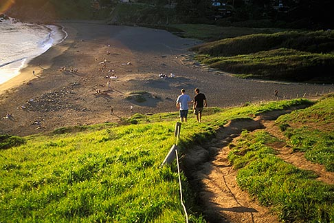 image 4-700-41 California, Marin County, Muir Beach, GGNRA, Hikers on Coastal Trail above the beach