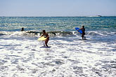 shore stock photography | California, Marin County, Muir Beach, GGNRA,  Young girls with boogie boards, image id 4-701-6