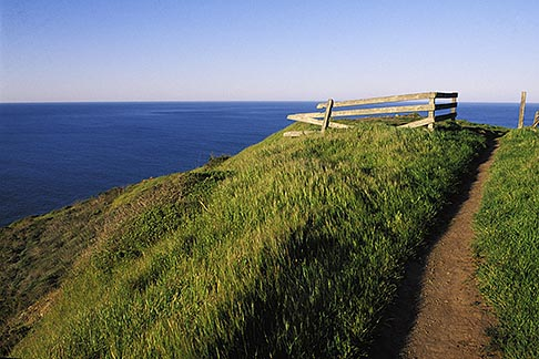 image 4-701-70 California, Marin County, Muir Beach, GGNRA, Hillside and fence