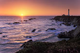 pacific ocean at sunset stock photography | California, Point Arena, Point Arena Lighthouse at sunset, image id 4-795-56