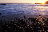 beach pebbles stock photography | California, Point Arena, Sunset from beach at Arena Cove, image id 4-795-97