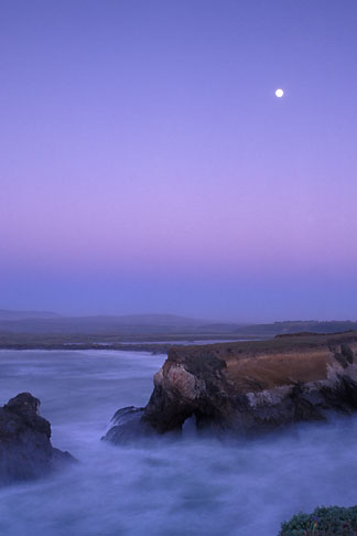 image 4-796-16 California, Point Arena, Rock arch at mouth of Garcia River with full moon