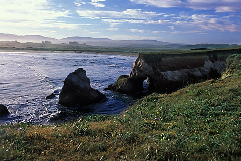 image 4-796-23 California, Point Arena, Rock arch at mouth of Garcia River