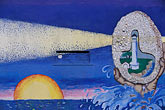 blue sky stock photography | California, Point Arena, Mural of lighthouse, image id 4-796-64