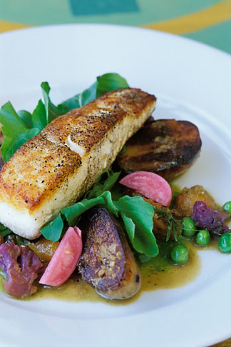 image 4-797-82 Food, Roasted halibut, lemongrass braised potatoes, purple cauliflower and pea shoots