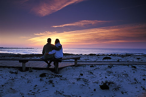 image 4-987-77 California, Pacific Grove, Asilomar State Beach, couple at sunset