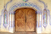 doorway and frescoes stock photography | California, Missions, Doorway & frescoes, Mission San Miguel Arcangel, image id 5-117-10
