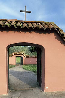 5-124-28  stock photo of California, Missions, Gate to cemetery, La Purisima Mission
