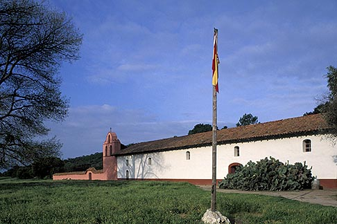 image 5-124-35 California, Missions, La Purisima Mission church and Spanish flag