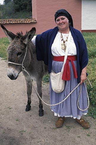 image 5-133-3 California, Missions, Woman and burro, La Purisima Mission State Park