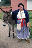 woman and burro stock photography | California, Missions, Woman & burro, La Purisima Mission State Park, image id 5-133-3
