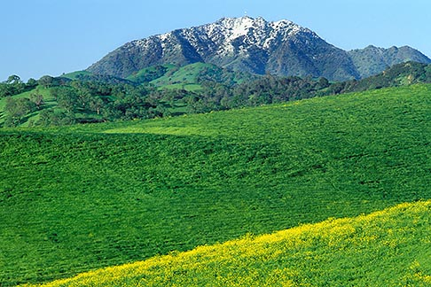 5-147-4  stock photo of California, Mt Diablo, View of snow capped Mt Diablo