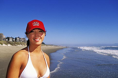 image 5-671-58 California, Santa Cruz County, Pajaro Dunes, Woman on beach