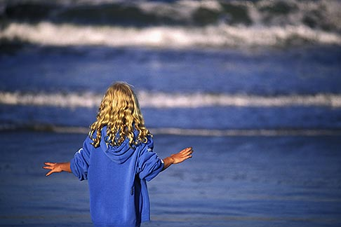 image 5-672-31 California, Santa Cruz County, Pajaro Dunes, Girl on beach
