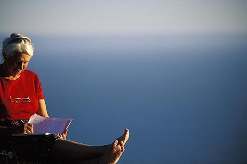 image 5-792-56 California, Stinson Beach, Woman writing in journal