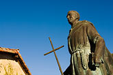 carmel mission church stock photography | California, Carmel, Statue of Junipero Serra outside Carmel Mission, image id 5-810-1517