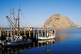 waterfront stock photography | California, San Luis Obispo County, Morro Bay harbor, fishing boats and Morro Rock, image id 6-319-9