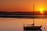 calm stock photography | California, Morro Bay, Sailboat at sunset, image id 6-470-20