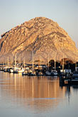 morro rock and sailboats stock photography | California, Morro Bay, Morro Rock and Harbor, image id 6-470-36