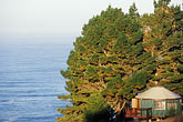 conservation stock photography | California, Big Sur, Treebones Resort, yurt on hillside overlooking the Pacific Ocean, image id 6-475-14