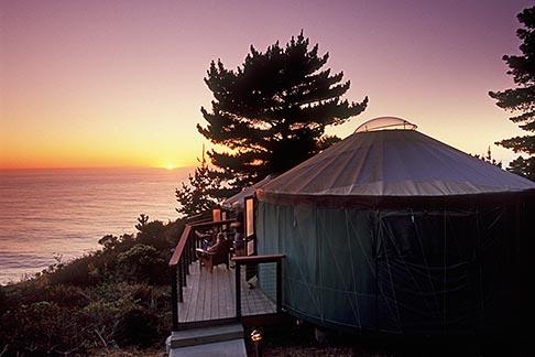 image 6-476-3 California, Big Sur, Treebones Resort, yurt on hillside overlooking the Pacific Ocean, dusk