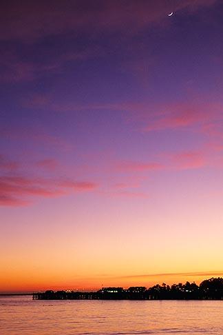 image 7-601-11 California, Santa Cruz, Santa Cruz Wharf and beach at sunset