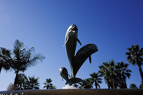 image 9-576-12 California, Santa Barbara, Dolphin statue, Waterfront